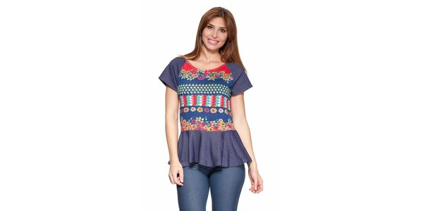 Dámské modré tričko s kanýrem Janis