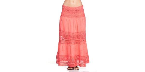 Dámská dlouhá korálově červená sukně Kool