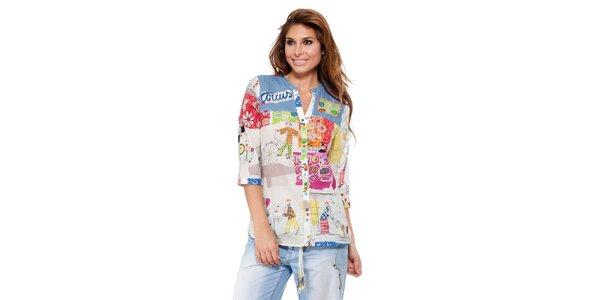 Dámská košile s kresleným barevným potiskem Kool