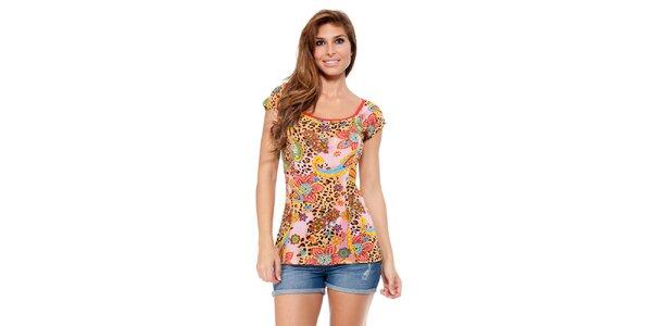 Dámské tričko s leopardím a květinovým potiskem Kool