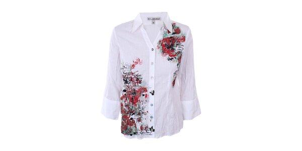 Dámská bílá košile s barevným potiskem Emma Pernelle