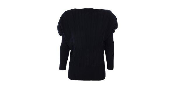 Dámský černý svetr s nabíranými rameny Nice Tricot
