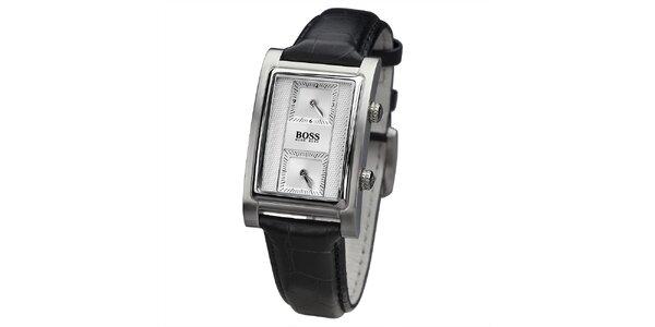 Pánské černé hodinky s hranatým světlým ciferníkem Hugo Boss