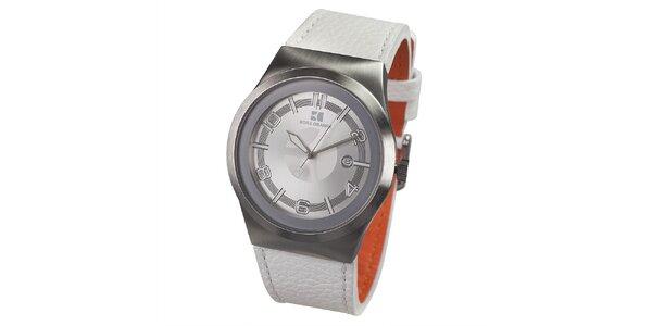 Pánské hodinky s bílým koženým páskem Hugo Boss