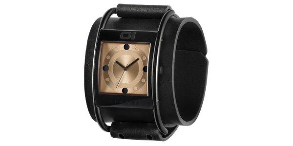 Pánské černé náramkové hodinky se zlatým ciferníkem The One