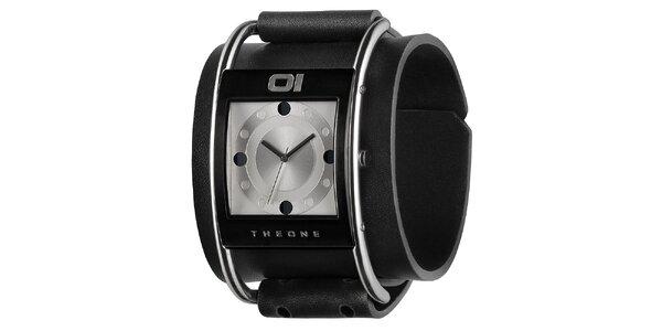 Pánské černé náramkové hodinky se stříbrným ciferníkem The One