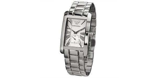 Dámské stříbrné hodinky s hranatým ciferníkem Emporio Armani