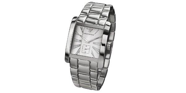 Pánské stříbrné hodinky s hranatým ciferníkem Emporio Armani