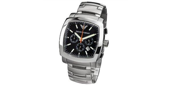 Pánské stříbrné hodinky s hranatým černým ciferníkem Emporio Armani