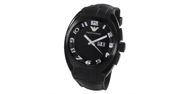 Pánské černé hodinky s datumovkou Emporio Armani