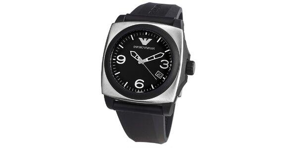 Pánské černé hodinky s hranatým pouzdrem Emporio Armani