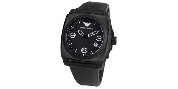 Pánské černé hranaté hodinky s datumovkou Emporio Armani