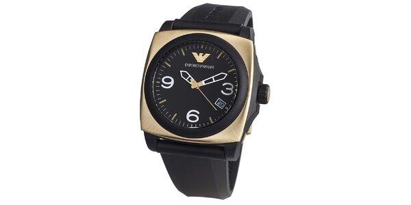 Pánské černé hodinky s hranatým pouzdrem ve zlaté barvě Emporio Armani