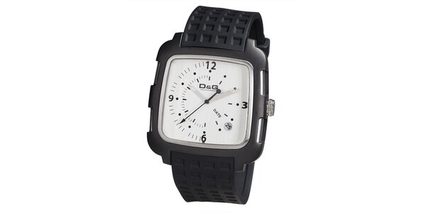 Pánské hranaté hodinky s bílým ciferníkem Dolce & Gabbana