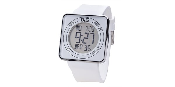 Bílé digitální hodinky s hranatým ciferníkem Dolce & Gabbana