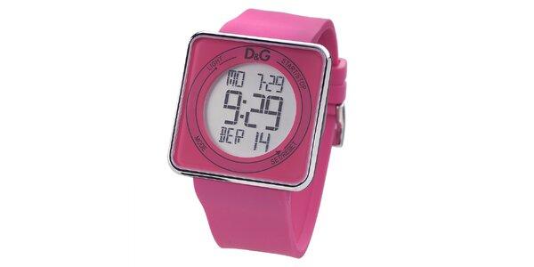 Dámské růžové digitální hodinky s hranatým ciferníkem Dolce & Gabbana