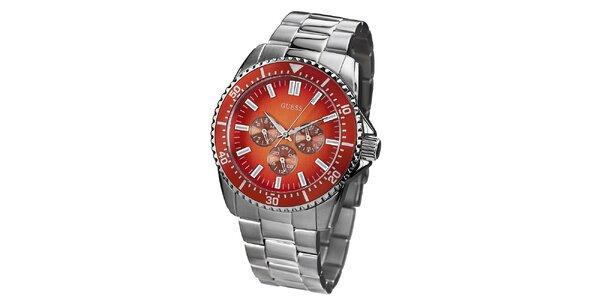 Pánské stříbrné hodinky z nerezové oceli s barevným ciferníkem Guess