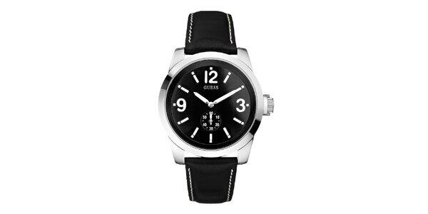 Pánské černé hodinky se stříbrným pouzdrem Guess