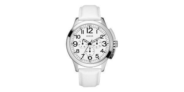 Pánské bílé hodinky se stříbrným pouzdrem Guess