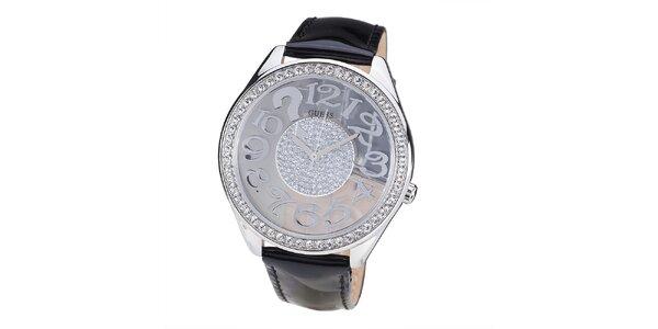 Dámské hodinky s lunetou z drobných kamínků Guess