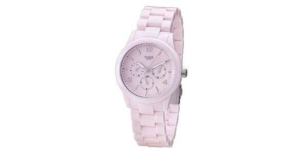 Dámské světle růžové hodinky Guess