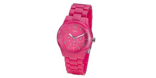 Dámské sytě růžové hodinky Guess