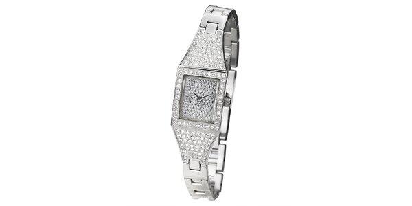 Dámské hodinky s hranatým ciferníkem vykládaným kamínky Guess