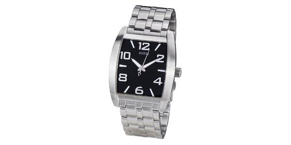 Pánské ocelové hodinky s černým hranatým ciferníkem Guess