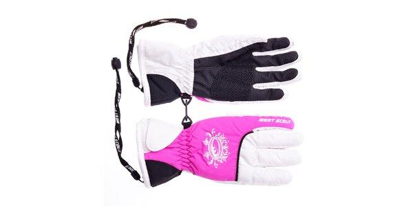Dívčí bílo-růžové lyžařské rukavice West Scout