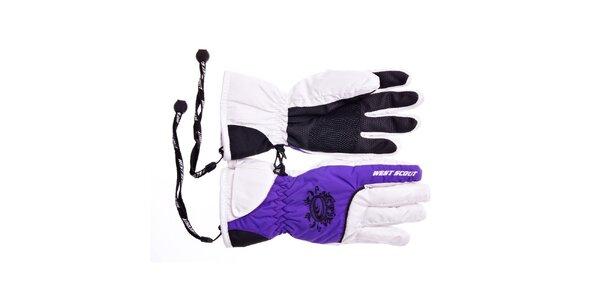 Dívčí bílo-fialové lyžařské rukavice West Scout