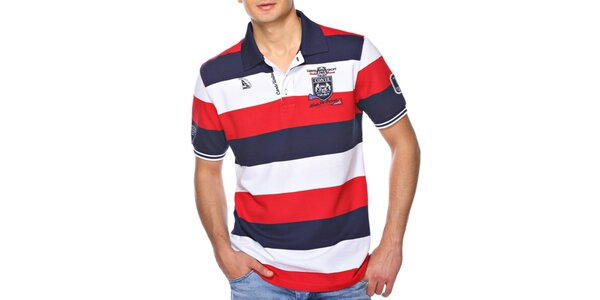 Pánské pruhované polo tričko s nášivkou M. Conte