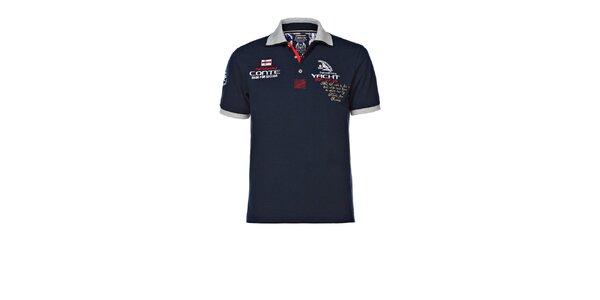 Pánské tmavě modré polo triko s výšivkami M. Conte