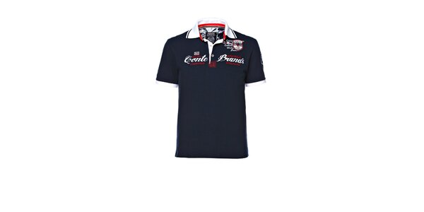 Pánské tmavě modré polo triko s výšivkou M. Conte