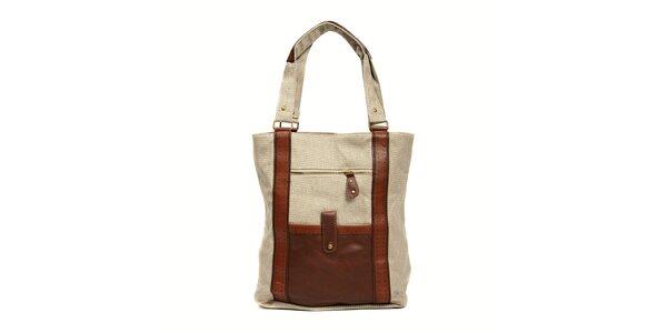 Textilní kabelka značky Siva v režné barvě