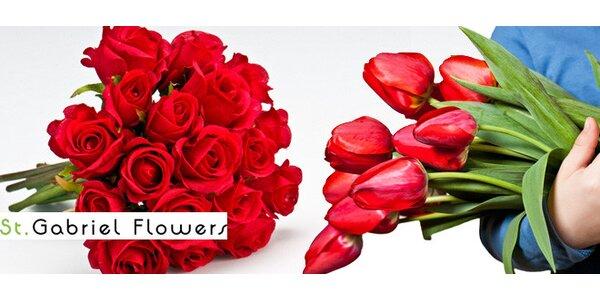Valentýnská kytice holandských tulipánů či růží