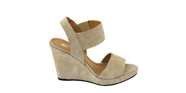 Dámské béžové semišové sandálky na platformě Eye