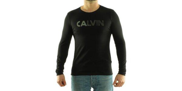 Pánské černé tričko Calvin Klein s potiskem
