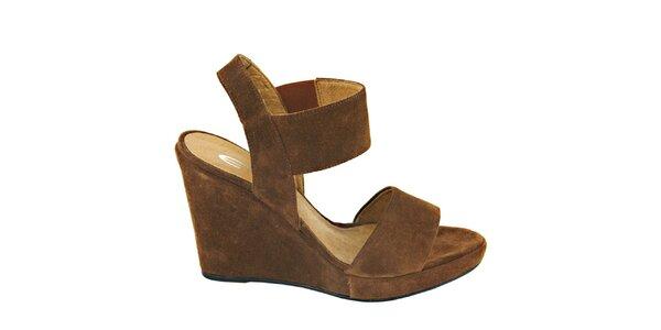 Dámské oříškově hnědé semišové sandálky na platformě Eye