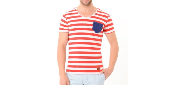 Pánské červeno-bílé pruhované tričko s modrou kapsou Wessi