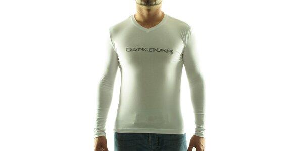 Pánské bílé tričko Calvin Klein s kamínky