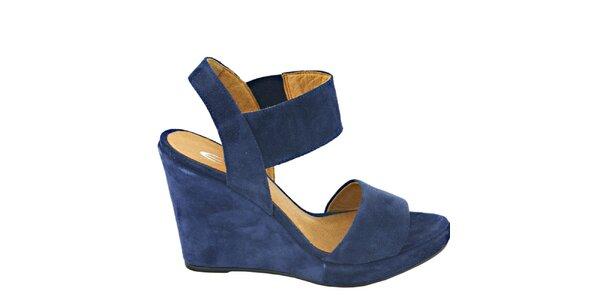 Dámské tmavě modré semišové sandálky na platformě Eye