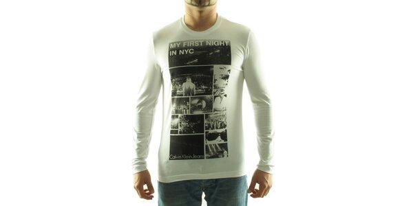 Pánské bílé tričko Calvin Klein s foto potiskem