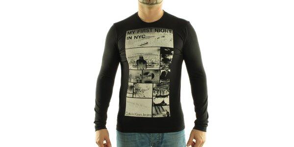 Pánské černé tričko Calvin Klein s foto potiskem
