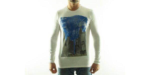 Pánské bílé tričko Calvin Klein s barevným potiskem