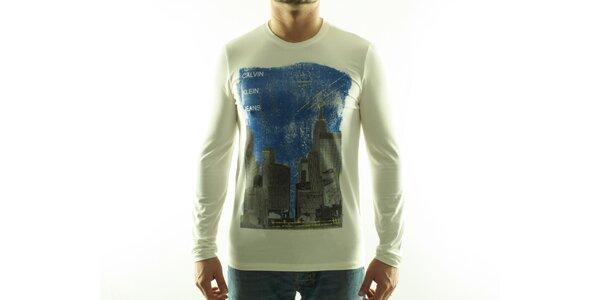 Pánské krémové tričko Calvin Klein s barevným potiskem