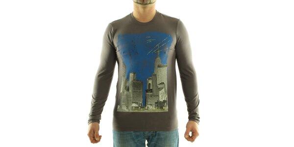 Pánské tmavě šedé tričko Calvin Klein s barevným potiskem