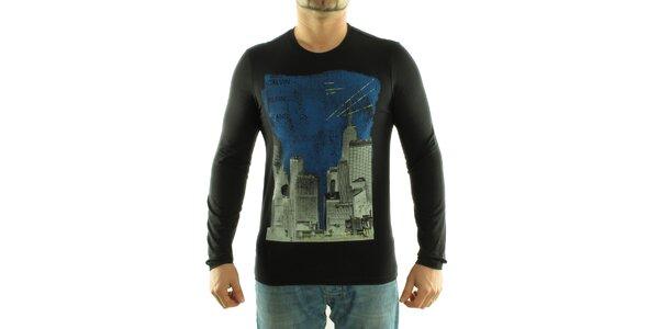 Pánské černé tričko Calvin Klein s barevným potiskem