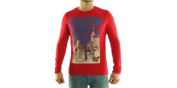 Pánské červené tričko Calvin Klein s barevným potiskem
