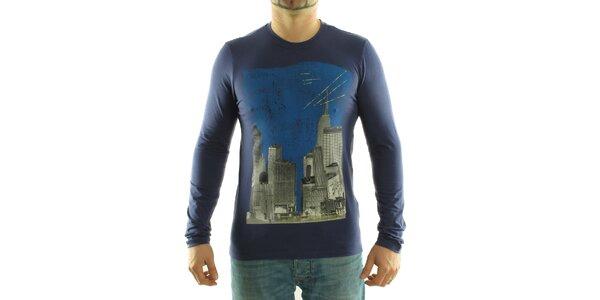 Pánské tmavě fialové tričko Calvin Klein s barevným potiskem