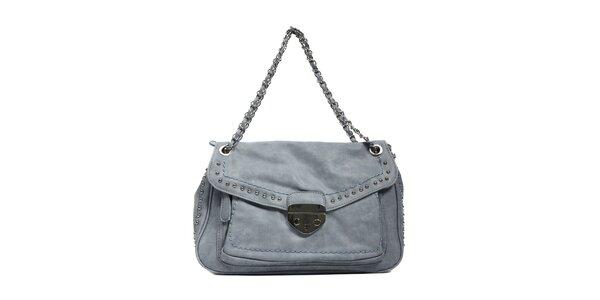 Modrošedá kabelka v rockovém stylu značky Siva